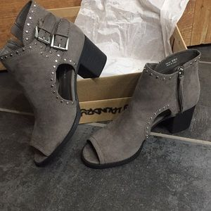 Super cute gray studded open-toe booties